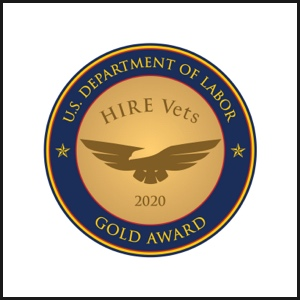 US Department of Labor HIRE Vets 2020 gold award badge