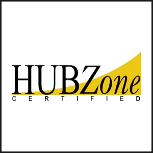HUBZone certified logo with yellow swoosh